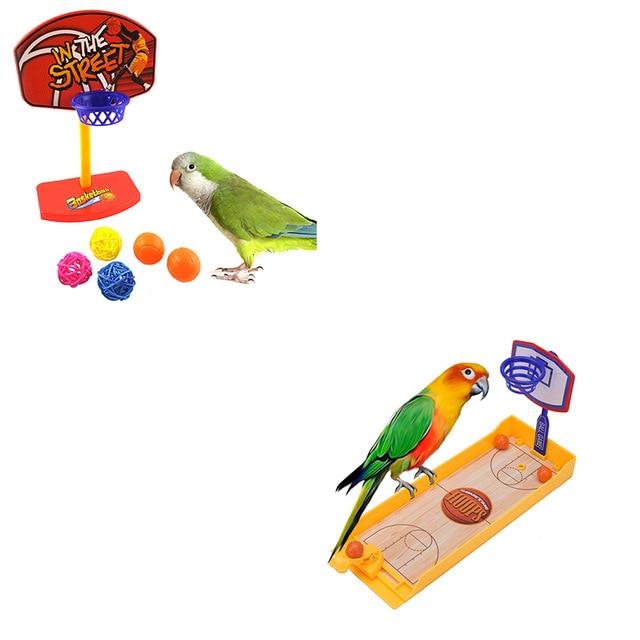 Juguete de bolas y canasta para pájaros